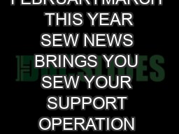 sew NEWS FEBRUARYMARCH  THIS YEAR SEW NEWS BRINGS YOU SEW YOUR SUPPORT OPERATION COMFORT DOLL