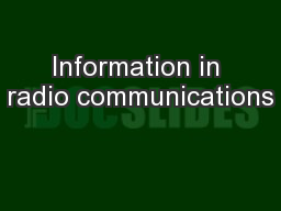 Information in radio communications