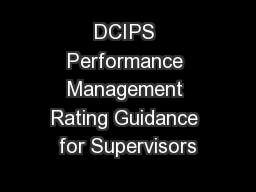 DCIPS Performance Management Rating Guidance for Supervisors
