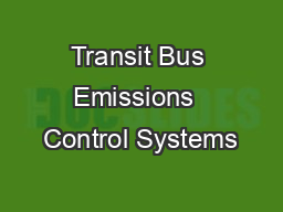 Transit Bus Emissions  Control Systems