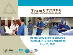Using Simulation to Enhance TeamSTEPPS Implementation