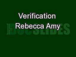 Verification Rebecca Amy