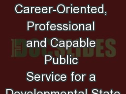 Building a Career-Oriented, Professional and Capable Public Service for a Developmental State