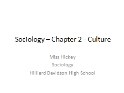 Sociology – Chapter 2 - Culture
