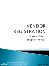 VENDOR REGISTRATION State of Utah