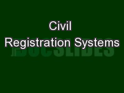 Civil Registration Systems