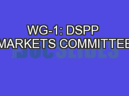 WG-1: DSPP MARKETS COMMITTEE