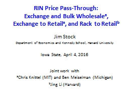 RIN Price Pass-Through: Exchange and Bulk