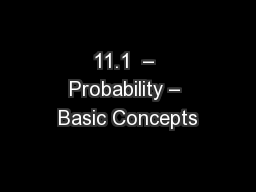 11.1  � Probability � Basic Concepts
