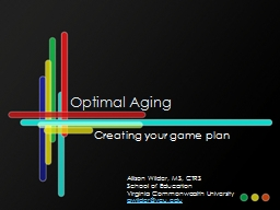 Optimal Aging Creating your game plan