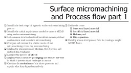 Surface micromachining  and Process flow part 1