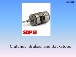 Clutches, Brakes, and Backstops