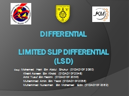 Differential Limited Slip Differential (LSD) PowerPoint PPT Presentation