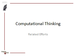 Computational Thinking Related Efforts