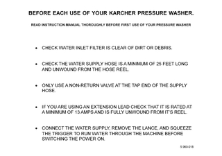 BEFORE EACH USE OF YOUR KARCHER PRESSURE WASHER