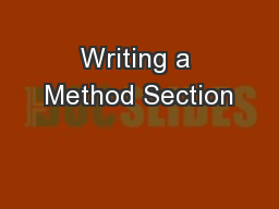 Writing a Method Section