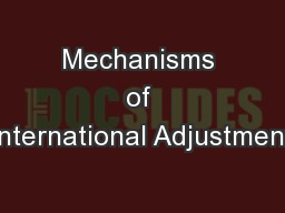 Mechanisms of International Adjustment