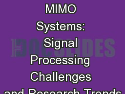 Massive MIMO Systems: Signal Processing Challenges and Research Trends