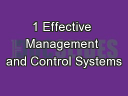 1 Effective Management and Control Systems PowerPoint PPT Presentation