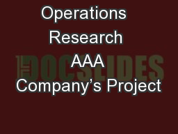 Operations  Research AAA Company�s Project