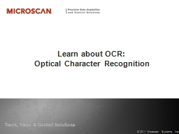 Learn about OCR:  Optical Character Recognition PowerPoint PPT Presentation