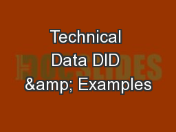 Technical Data DID & Examples