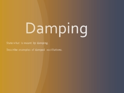 Damping State  what is meant by damping.