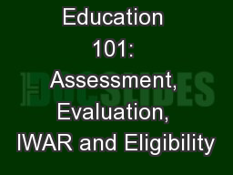 1 Special Education 101: Assessment, Evaluation, IWAR and Eligibility