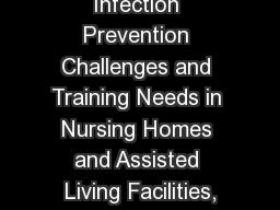 Infection Prevention Challenges and Training Needs in Nursing Homes and Assisted Living Facilities,