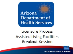 Licensure Process Assisted Living Facilities