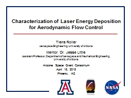 Characterization of Laser Energy Deposition for Aerodynamic Flow Control