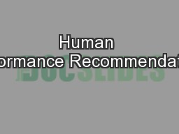 Human Performance Recommendations