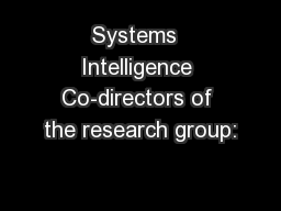Systems  Intelligence Co-directors of the research group: