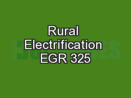 Rural Electrification EGR 325
