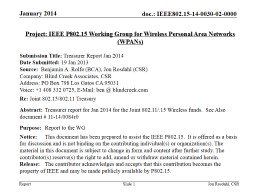 January 2016 Slide  1 Project: IEEE P802.15 Working Group for Wireless Personal Area Networks (WPAN