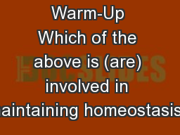 Warm-Up Which of the above is (are) involved in maintaining homeostasis?