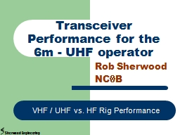 Transceiver Performance for the 6m - UHF operator