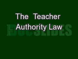 The  Teacher Authority Law