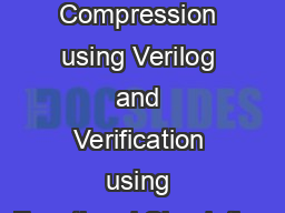 RLE Compression using Verilog and Verification using Functional Simulation