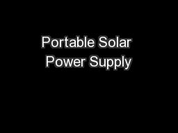 Portable Solar Power Supply
