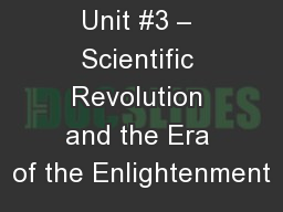 AP EURO Unit #3 – Scientific Revolution and the Era of the Enlightenment