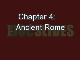 Chapter 4:   Ancient Rome