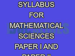 CSIRUGC National Eligibility Test NET for Junior Research Fellowship and Lecturership SYLLABUS FOR MATHEMATICAL SCIENCES PAPER I AND PAPER II UNIT   Analysis Elementary set theory finite countable and
