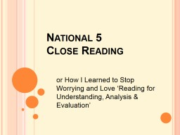 National 5 Close Reading
