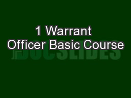 1 Warrant Officer Basic Course