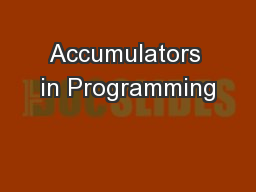 Accumulators in Programming