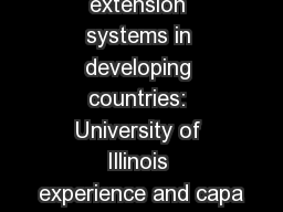 Strengthening extension systems in developing countries: University of Illinois experience and capa