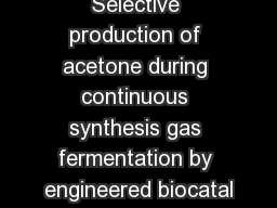 Selective production of acetone during continuous synthesis gas fermentation by engineered biocatal