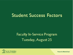 Student Success Factors Faculty In-Service Program