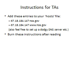 Instructions for TAs Add these entries to your �hosts� file: